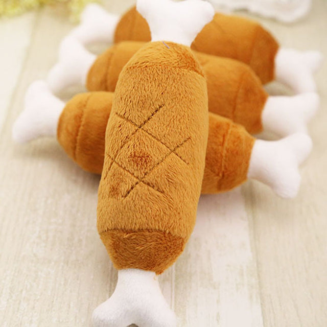 1PC Pet Dog Cat Chicken Legs Plush Toys Interactive Sound Toys