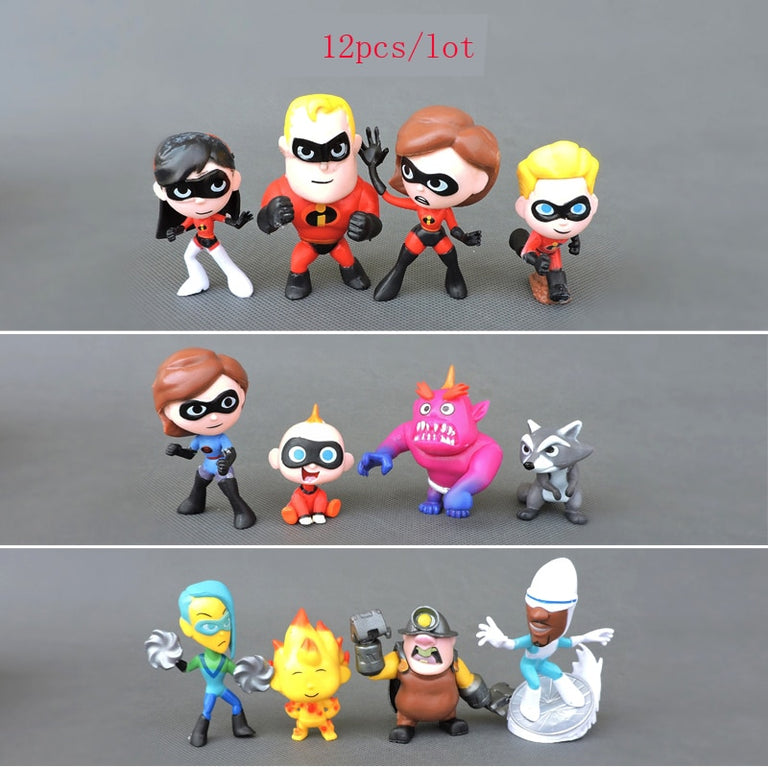 The Incredibles 2 Family 12-Pack Junior Supers Toy Figure Action Figure  7cm (12pcs/lot )