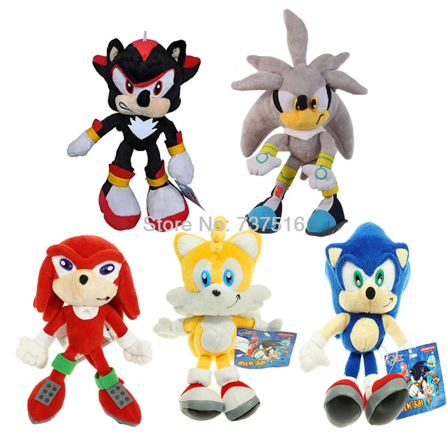 New Shadow Silver Sonic The Hedgehog Red Knuckles the Echid Yellow Tails Miles Prower Stuffed Plush Doll Toys 8-10 inch With Tag