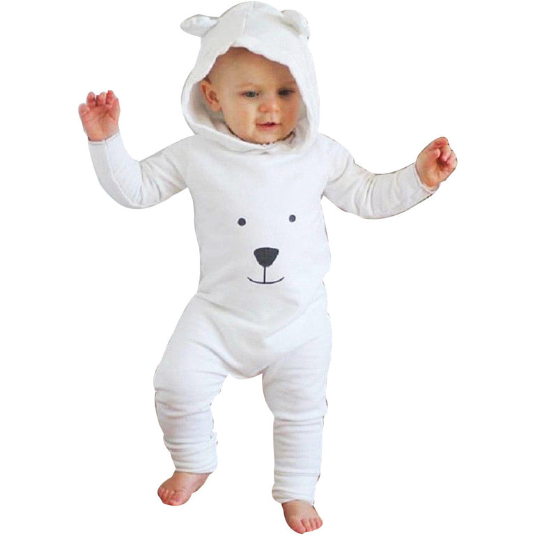 Fashion Hooded Unisex Newborn Infant Baby Boy Girl Hooded Cartoon Romper Jumpsuit Outfits Clothes 2018