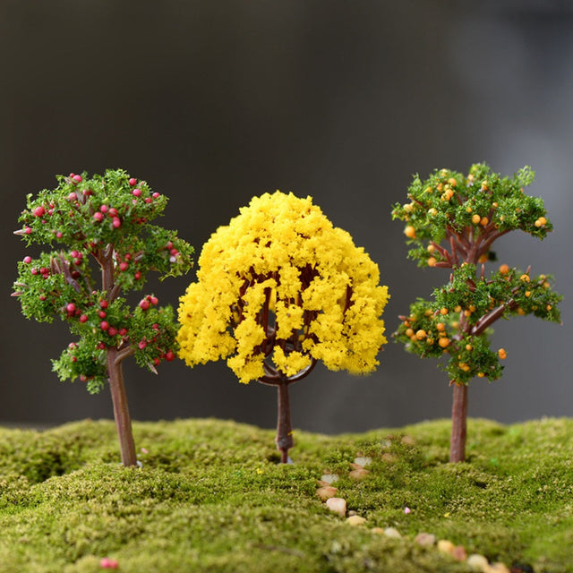 2pcs Lovely Mini Tree Miniatures Micro Landscape Resin Crafts Bonsai Figurine Garden Terrarium Supplies Fairy Garden Decorations