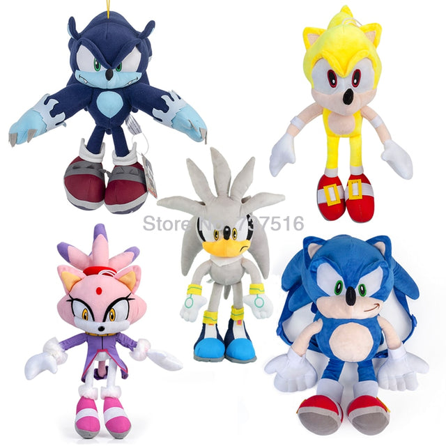 Sonic the Hedgehog Series Super Sonic Blaze the Cat Sonic the Werehog Silver the Hedgehog Plush Stuffed Animal Toy 12-20 Inch
