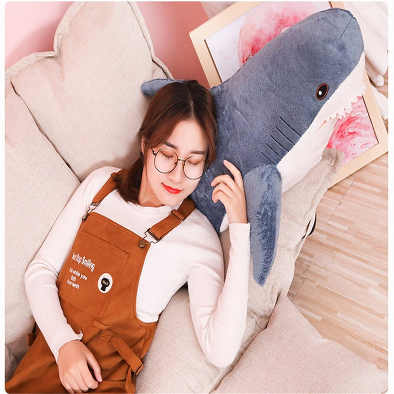 Crystal super soft short plush cute shark doll plush toy sea squirt pillow 80 cm stuffed animal soft plush toy