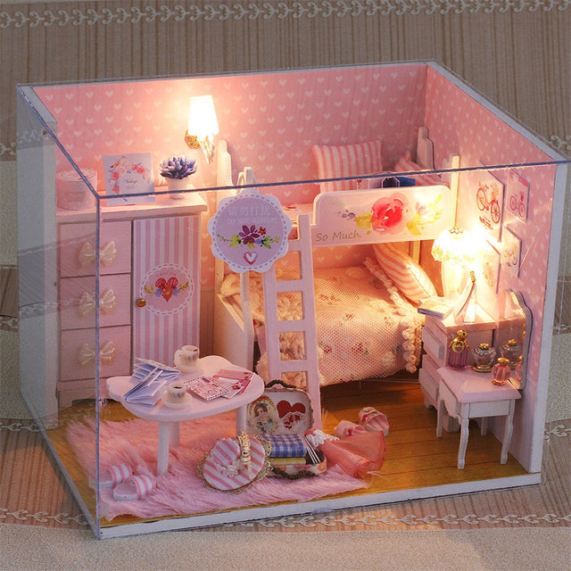 DIY Dollhouse Miniature 3D House Furniture LED House Puzzle Decorate Creative