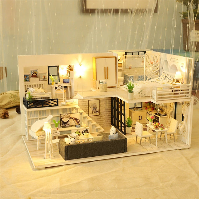 Creative gift 3D Wooden DIY Miniature House LED House House DIY Mini Dollhouse Toys  Handmade Doll House Birthday Gift