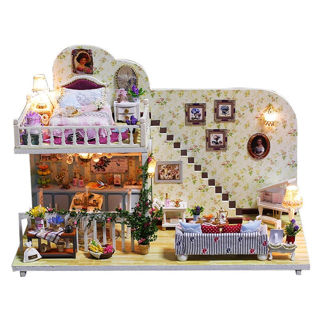 DIY Christmas House Assemble Miniature Dollhouse LED Furniture Kit Xmas Gift