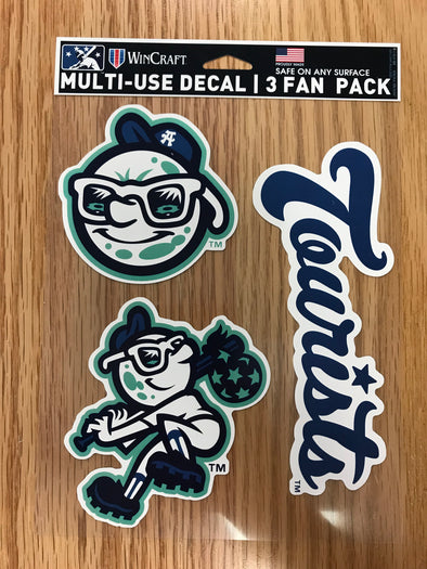 The Asheville Tourists Multi-Use Decal 3 Fan Pack