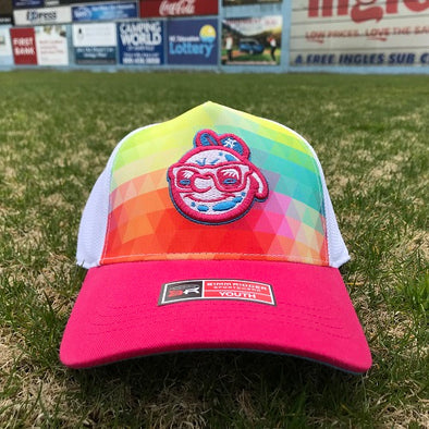 The Asheville Tourists Youth Girls Rainbow Adjustable Cap