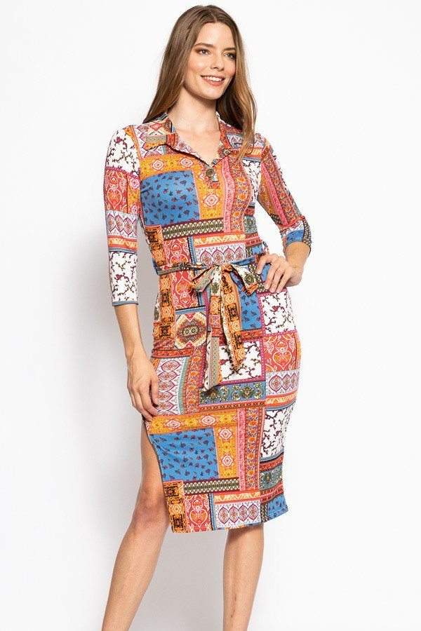 Print, Midi Tee Dress With 3/4 Sleeves, Collared V Neckline, Decorative Button, Matching Belt And A Side Slit