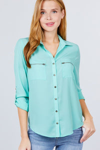 3/4 Roll Up Sleeve Pocket W/zipper Detail Woven Blouse - JCreatedByJennie