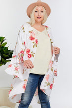 Load image into Gallery viewer, Floral Print Ruffle Detailed Draped Longline Maxi Kimono Cardigan