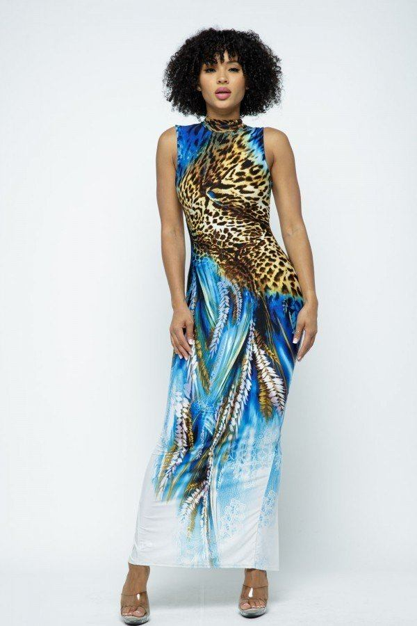 Mock Neck Back Open Body Con Maxi Dress With Mask