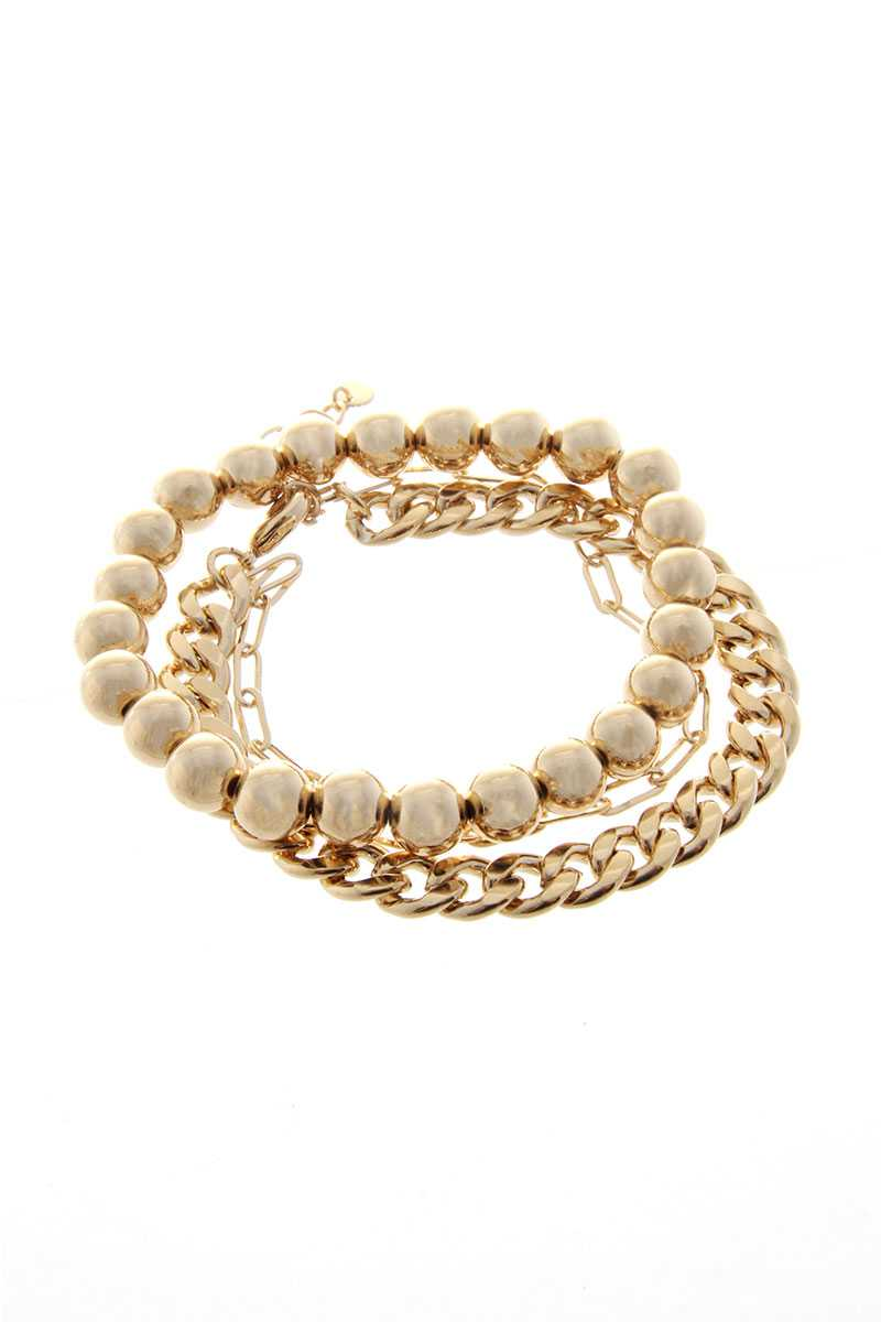 3 Layered Metal Chain Multi Bracelet Set