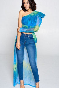 Tie Dye One Shoulder Top