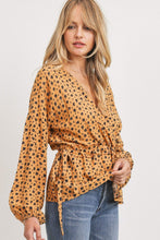 Load image into Gallery viewer, Surplice Neckline Drop Shoulder Long Sleeve Top