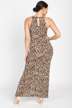 Load image into Gallery viewer, Round Neck Animal Print Maxi Dress