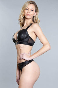 2 Piece. Wet-look Bra With Criss-cross Back Straps And Matching Panties Set