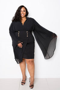 Cape Dress With Button Accent