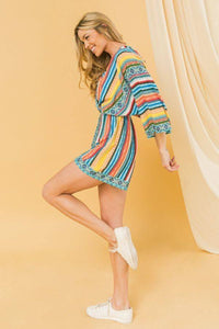Multicolored Surplice Romper
