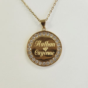 CDN02 - Crystal Monogram or Names Disc Necklace