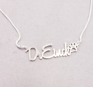HBP01 - Bella Paw Print Personalized Necklace