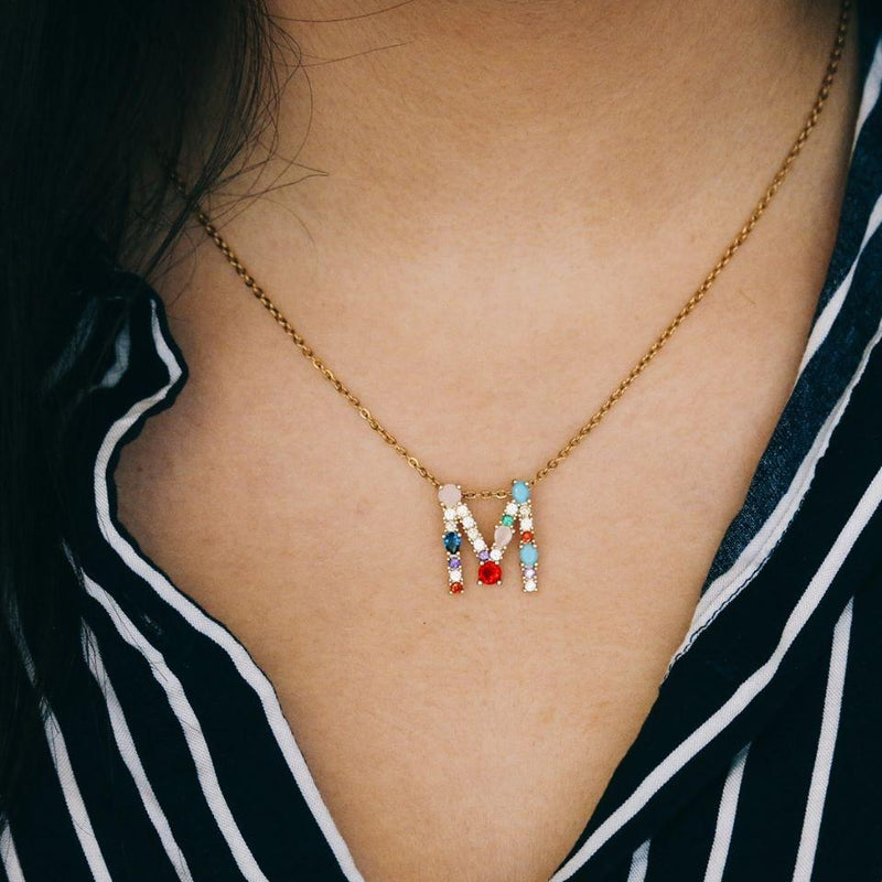 MGIN01- Large Multi Gem Initial Necklace