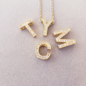 CFI01 - Crystal Floating Initial Necklace Yellow Gold Plated