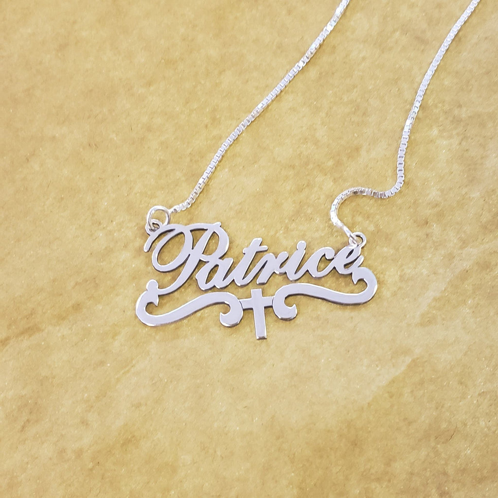 Personalized Name Necklace with Cross
