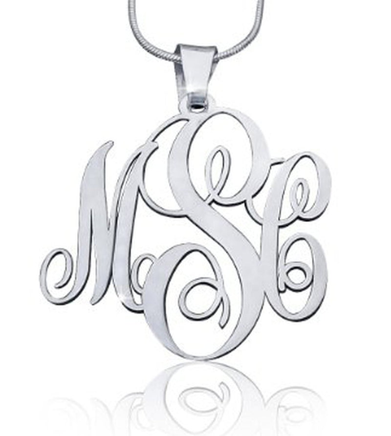 MNKK02 - Script Large Monogram Necklace
