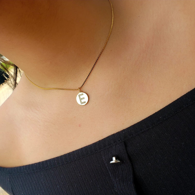 SDPI01- Small Disc Paved Initial Necklace