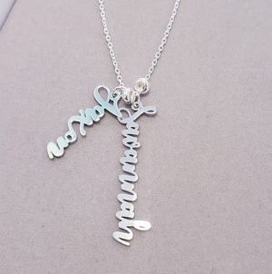 Vertical Family Charm Necklace