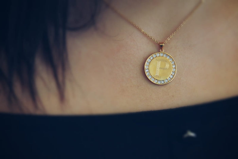 CDN03 - Crystal Paved Disc Block Initial Necklace