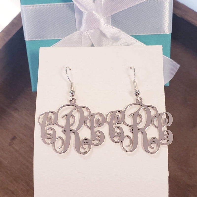 MNER01 - Script Monogram Earrings