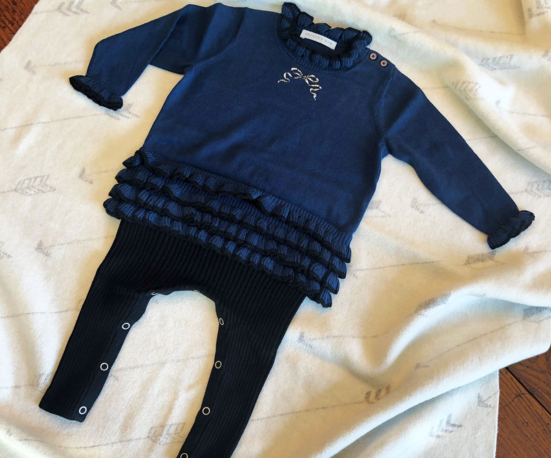 Cotton Ruffled Onesie with tights