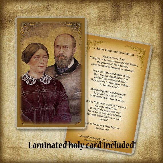 Sts. Louis & Zelie Martin Plaque & Holy Card Gift Set