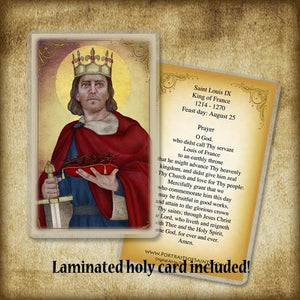 St. King Louis IX of  France Plaque & Holy Card Gift Set