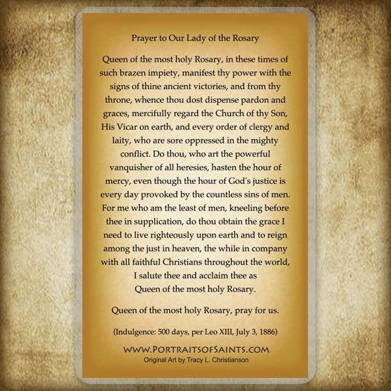 Our Lady of the Rosary Holy Card