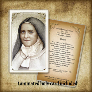 St. Therese of Lisieux (B) Plaque & Holy Card Gift Set