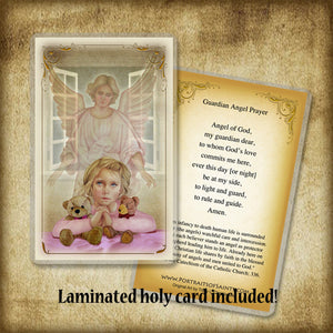Guardian Angel/Girl Plaque & Holy Card Gift Set
