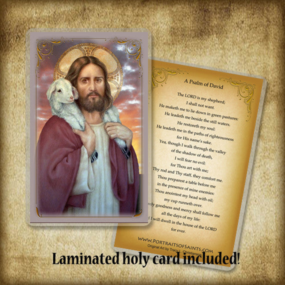 The Good Shepherd Plaque & Holy Card Gift Set