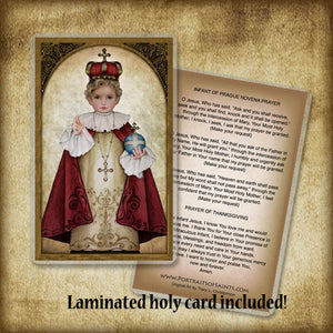 Infant of Prague Plaque & Holy Card Gift Set