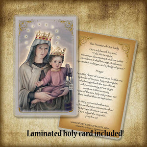 Our Lady of Mount Carmel Pendant & Holy Card Gift Set