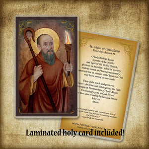 St. Aidan of Lindisfarne Plaque & Holy Card Gift Set