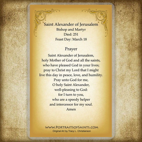 St. Alexander of Jerusalem Holy Card