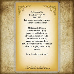 St. Amelia Holy Card