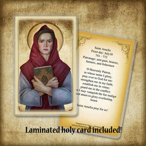 St. Amelia Plaque & Holy Card Gift Set