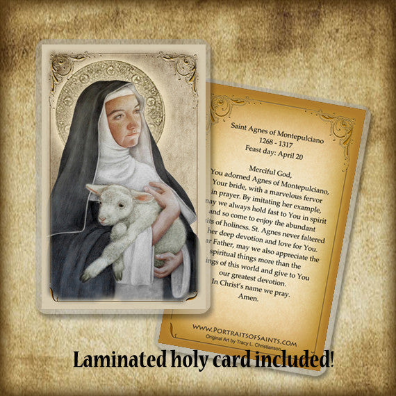 St. Agnes of Montepulciano Plaque & Holy Card Gift Set