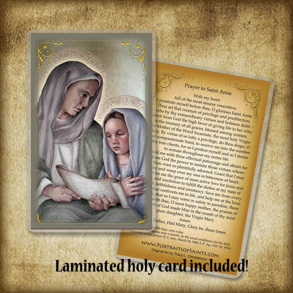 St. Anne and Mary Plaque & Holy Card Gift Set