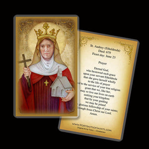 St. Audrey (Etheldreda) Holy Card