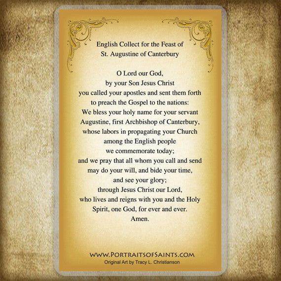 St. Augustine of Canterbury Holy Card